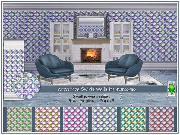 Sims 4 Wreathed Swirls Walls by marcorse at TSR