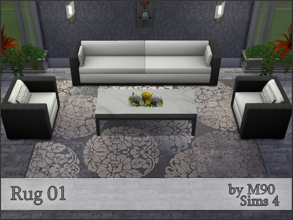 M90 Rug 01 with flower motif in 4 colors by Mircia90 at    select a Sites    image 2137 Sims 4 Updates