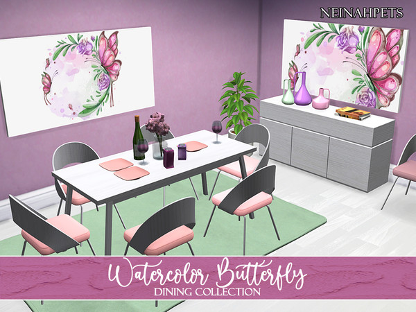 Watercolor Butterfly Dining Collection by neinahpets at TSR image 215 Sims 4 Updates