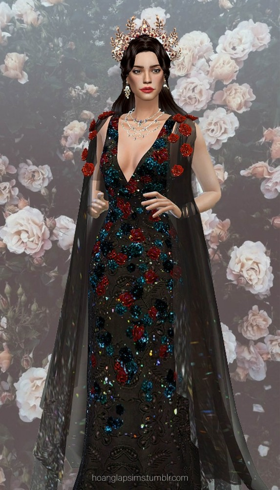 Sims 4 Temptation of Roses gown & crown (P) at HoangLap's Sims