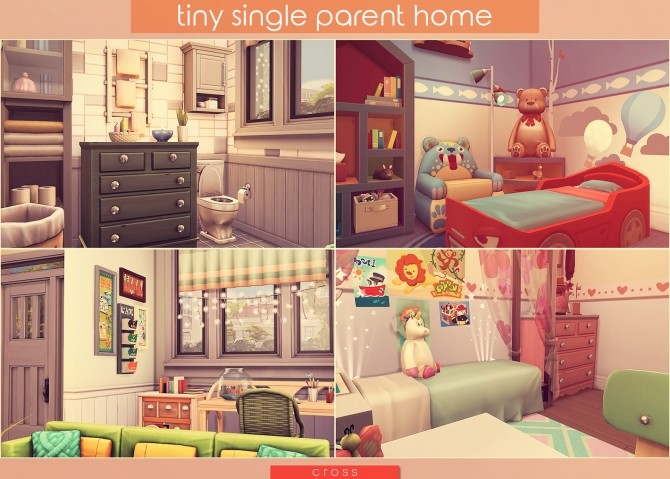 Tiny Single Parent Home by Praline at Cross Design image 2474 670x479 Sims 4 Updates