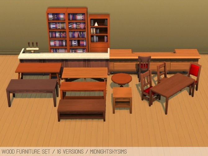 Wood furniture set at Midnightskysims image 2493 670x503 Sims 4 Updates
