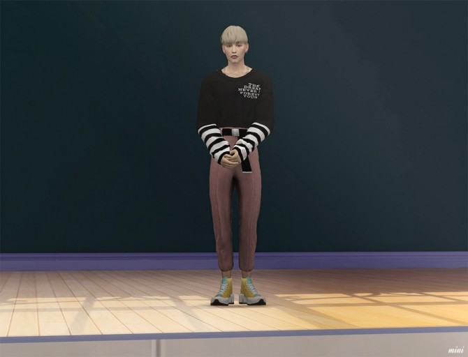 Sims 4 Layered T shirt with Necklace & Casual Slacks with Belt at MINI SIMS