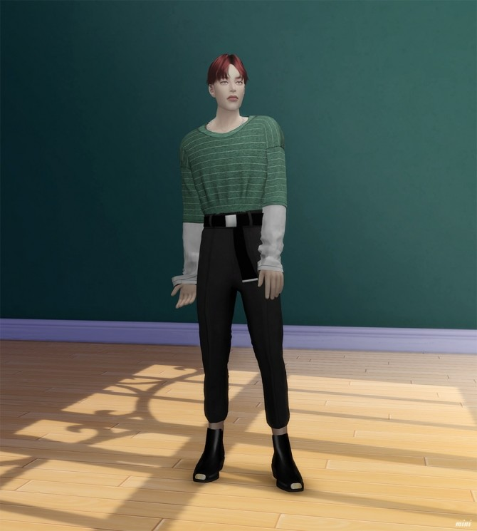 Layered T shirt with Necklace & Casual Slacks with Belt at MINI SIMS image 2524 670x745 Sims 4 Updates