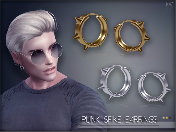 Sims 4 Punk Spike Earrings by Mathcope at TSR