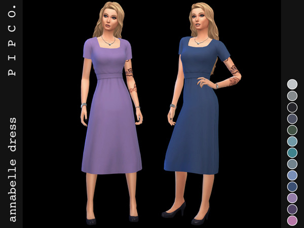 Sims 4 Annabelle simple elegant belted dress by Pipco at TSR