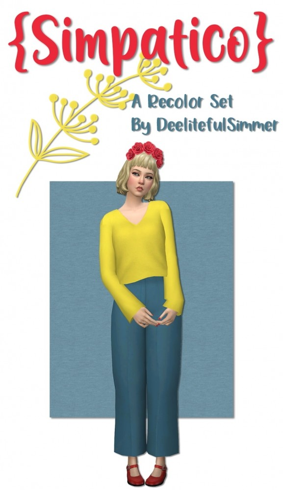 Sims 4 Simpatico sweater and pants recolors at Deeliteful Simmer
