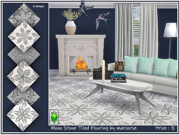 Sims 4 Mono Stone Tiled Flooring by marcorse at TSR