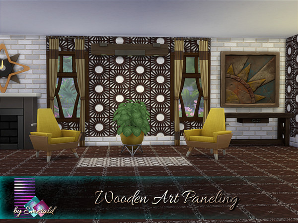 Sims 4 Wooden Art Paneling by emerald at TSR
