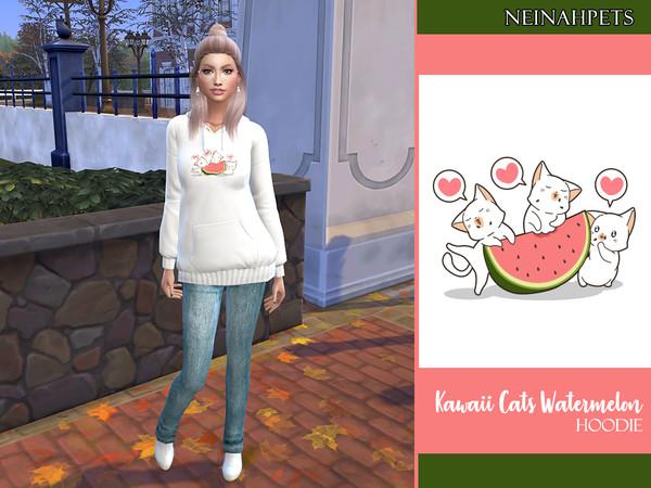 Sims 4 Kawaii Cats Watermelon Hoodie by neinahpets at TSR