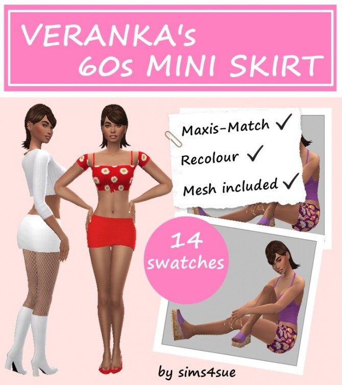 VERANKA'S 60s MINI SKIRT at Sims4Sue image 293 670x754 Sims 4 Updates