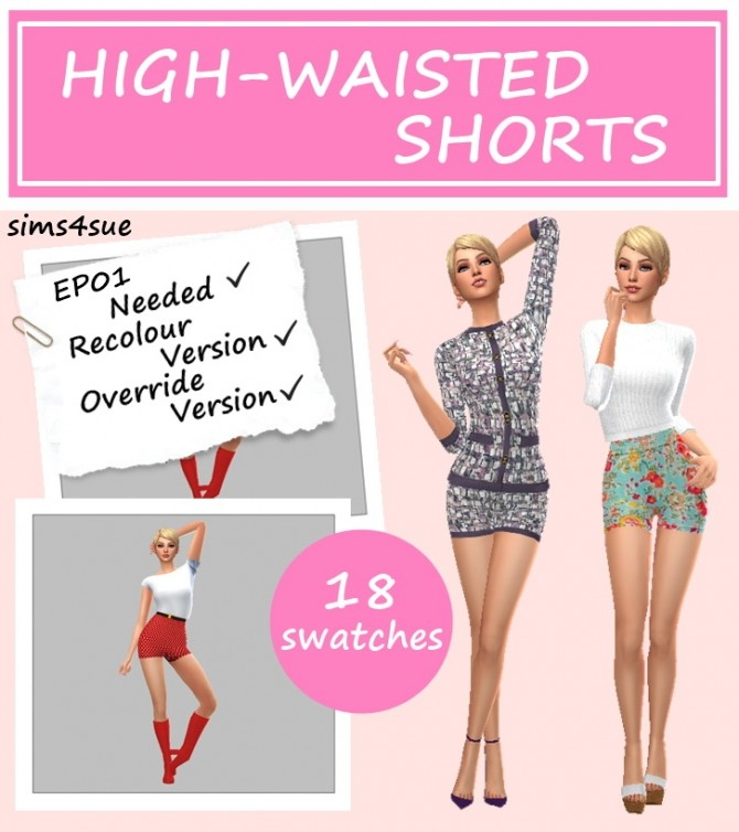 EP01 HIGH WAISTED SHORTS at Sims4Sue image 300 670x754 Sims 4 Updates