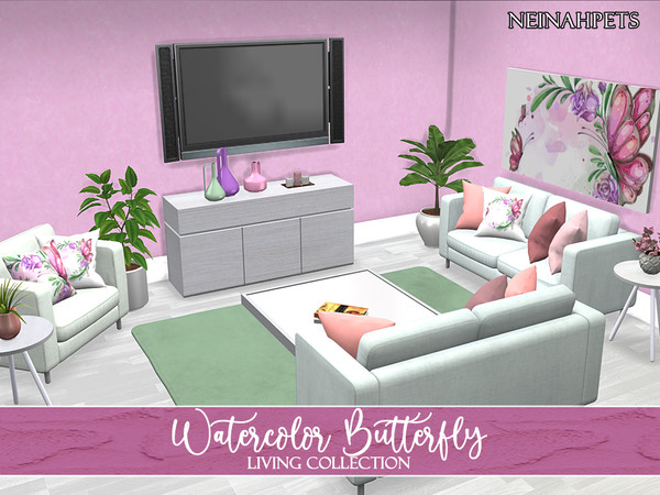 Watercolor Butterfly Living Collection by neinahpets at TSR image 3011 Sims 4 Updates
