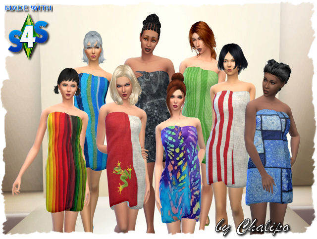 Sims 4 Sauna towel colorful by Chalipo at All 4 Sims