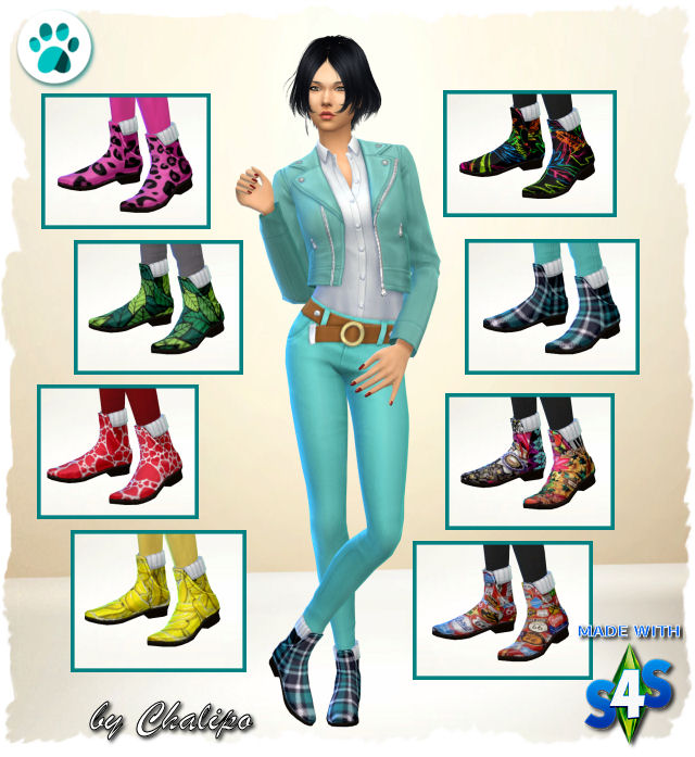 Sims 4 Colorful ankle boots by Chalipo at All 4 Sims