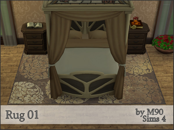 M90 Rug 01 with flower motif in 4 colors by Mircia90 at    select a Sites    image 3127 Sims 4 Updates