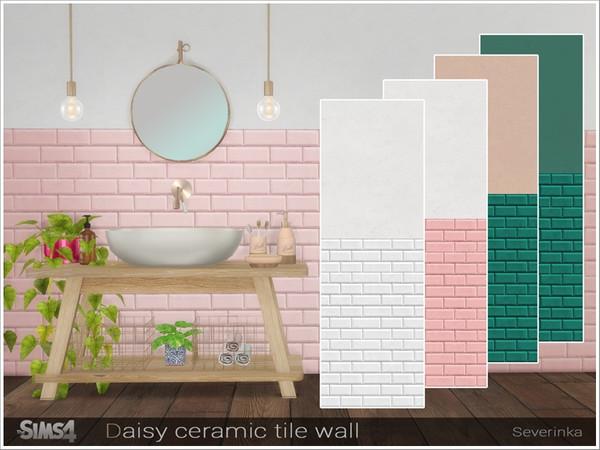 Daisy ceramic tile wall by Severinka at TSR image 3136 Sims 4 Updates