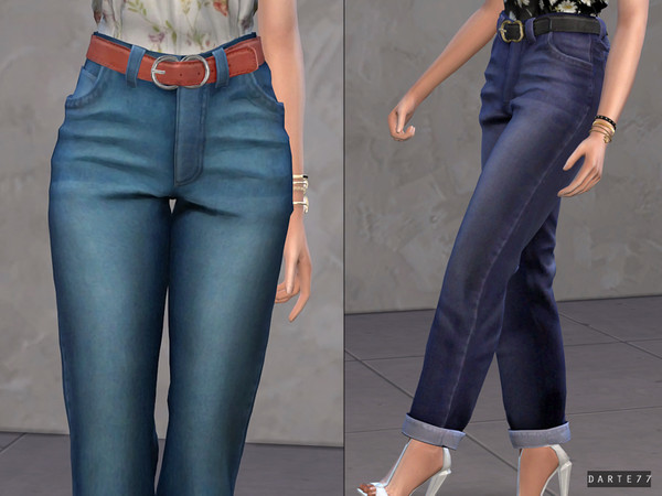 Sims 4 Belted Mom Jeans by Darte77 at TSR