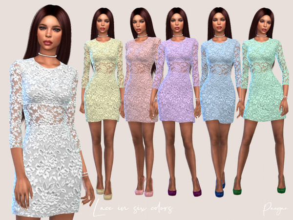 Sims 4 Short lace dress in Six Colors by Paogae at TSR