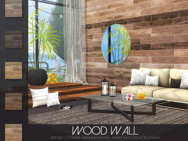 Sims 4 Wood Wall by Rirann at TSR