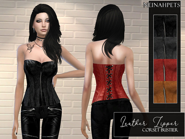 Sims 4 Leather Zipper Corset Bustier by neinahpets at TSR