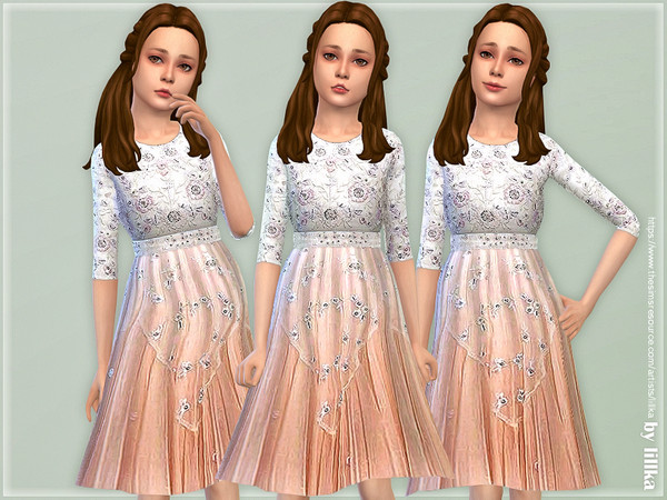 Sims 4 Pearl Rose Dress for Girls by lillka at TSR