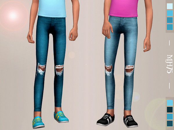 Petra skinny jeans with ripped knees for girls by Margeh 75 at TSR image 4117 Sims 4 Updates