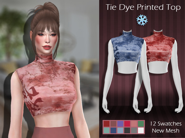 Sims 4 LMCS Tie Dye Printed Top by Lisaminicatsims at TSR