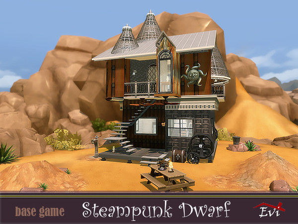 Steampunk dwarf house by evi at TSR image 4224 Sims 4 Updates