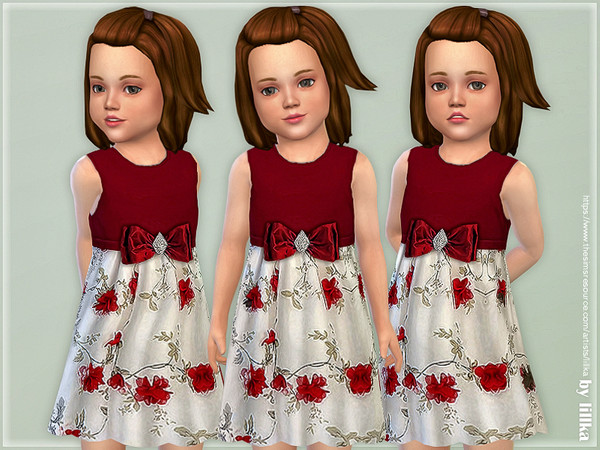 Sims 4 Red White Flower Brooch Bow Dress by lillka at TSR