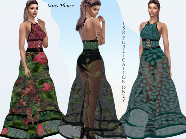 Sims 4 Tropics long dress with a transparent skirt by Sims House at TSR
