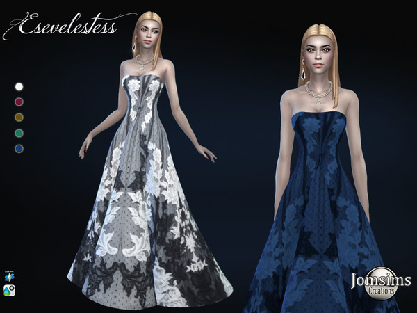 Sims 4 Esevelestess long ball gown by jomsims at TSR