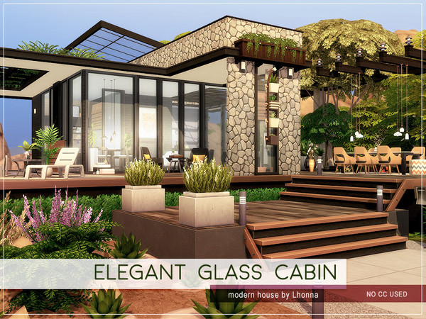 Sims 4 Elegant Glass Cabin by Lhonna at TSR