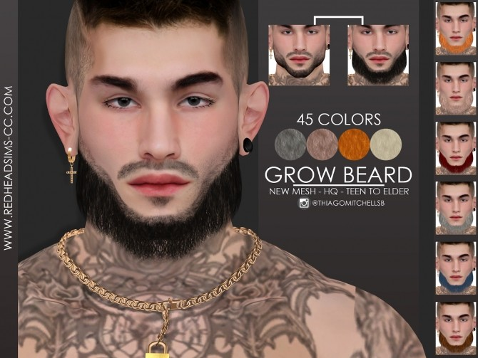 GROW BEARD by Thiago Mitchell at REDHEADSIMS image 463 670x503 Sims 4 Updates