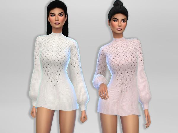 Sims 4 Gigi Sweater Dress by Puresim at TSR