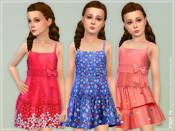 Sims 4 Girls Dresses Collection P134 by lillka at TSR