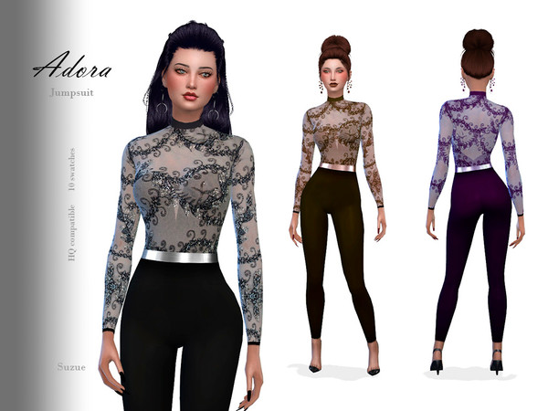 Sims 4 Adora Jumpsuit by Suzue at TSR