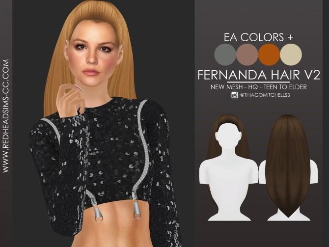 Sims 4 FERNANDA HAIR by Thiago Mitchell at REDHEADSIMS