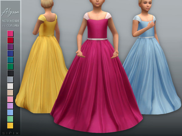 Sims 4 Alyssa Gown (Child) by Sifix at TSR