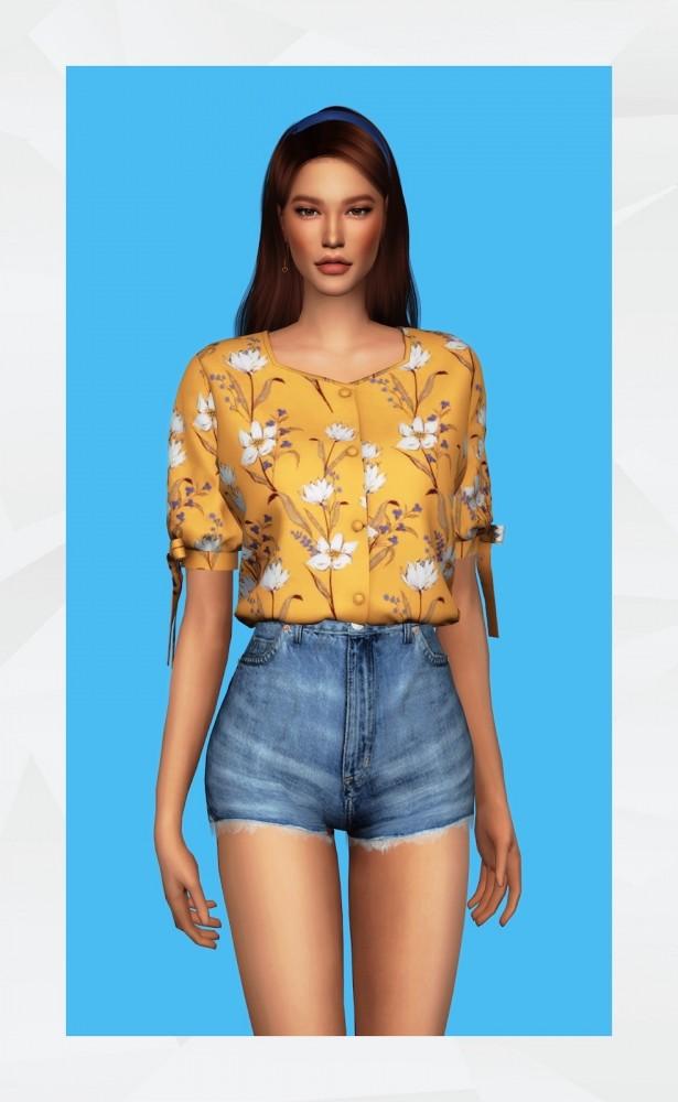 Ribbon Sleeve Blouse at Gorilla image 531 615x1000 Sims 4 Updates