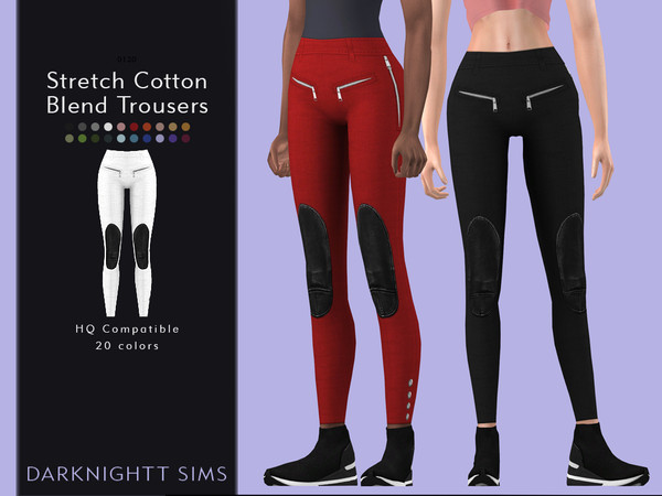 Sims 4 Stretch Cotton Blend Trousers by DarkNighTt at TSR