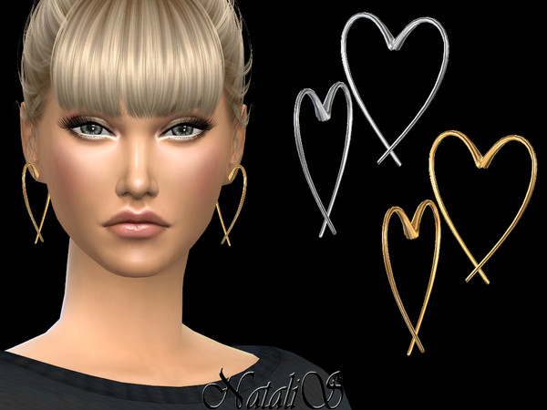 Open heart earrings by NataliS at TSR image 5516 Sims 4 Updates
