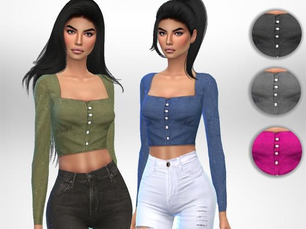 Sims 4 Senorita Top by Puresim at TSR