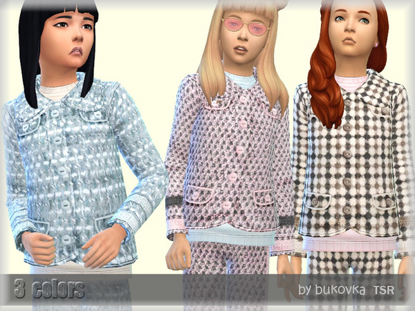 Boucle Jacket for girls by bukovka at TSR image 5614 Sims 4 Updates