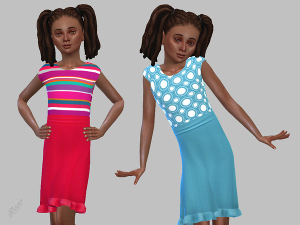 Girls Simple Dress by pizazz at TSR image 580 Sims 4 Updates