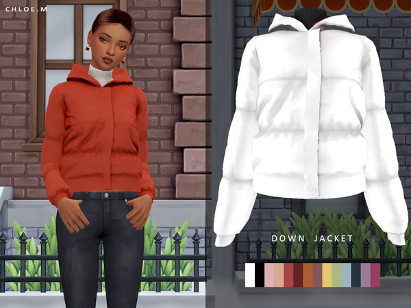 Down Jacket F by ChloeMMM at TSR image 5918 Sims 4 Updates