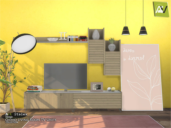 Sims 4 Qiemo Living Room TV Units by ArtVitalex at TSR