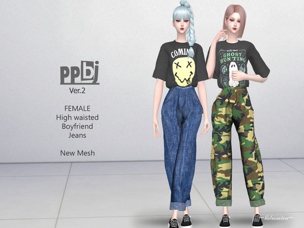Sims 4 PPBJ Ver.2 Boyfriend Jeans by Helsoseira at TSR