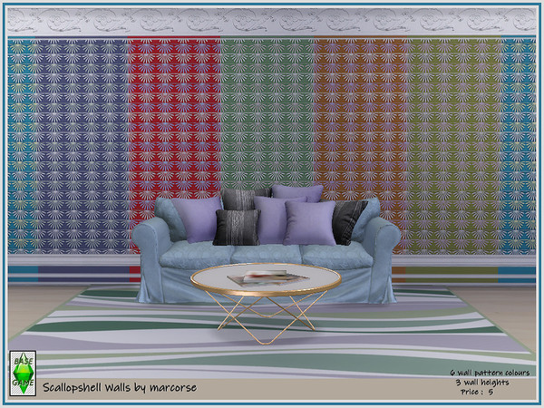 Sims 4 Scallop shell Walls by marcorse at TSR