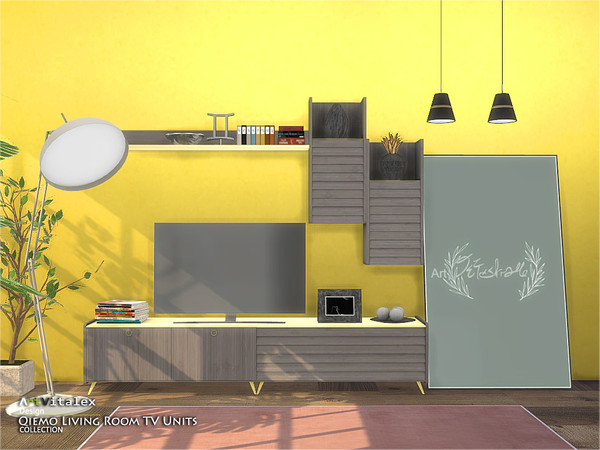 Qiemo Living Room TV Units by ArtVitalex at TSR » Sims 4 Updates